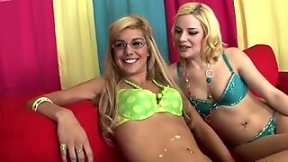 Giggling blondies Misti Love & Ally Ann desire to eat pussies of each other