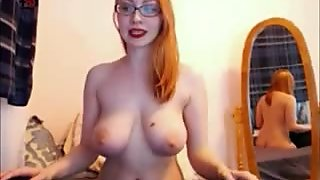 Redhead busty have fun in public webcam chat room
