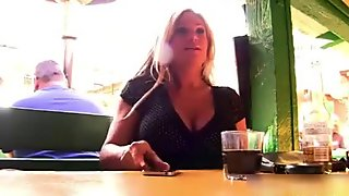 Sexy blonde babe with huge tits plays