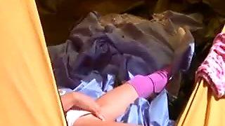 18yo coed Loly jerking off in a tent