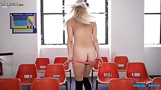 Sex-appeal chick Chanelle takes off her clothes and shows nice ass and juicy muff