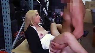 Sexy blonde business woman gets bent over the desk and gets pussy fucked
