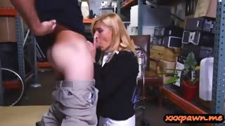 Amateur blonde slut earns cash by pawning her sweet pussy