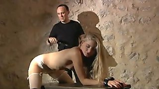 Delicious blonde bound and fucked in sexy stockings