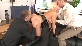 Blond haired filthy lady is gonna have nice anal fuck with two horny freaks