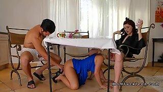 Huge tits stepmom licks teen under table