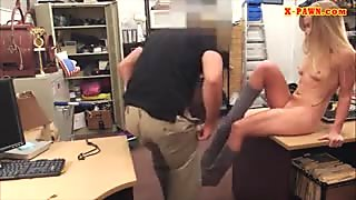 Slim blonde flashes her tits and banged at the pawnshop