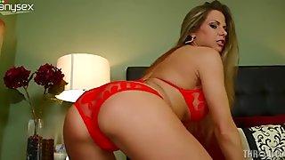 Busty gorgeous MILF in sexy red lingerie  Rachel Roxxx fingerfucks