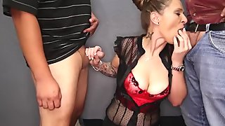 MILF Addison Does Her First Blowbang and Gets In Over Her Head