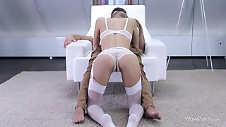 Delightful blonde babe Anjelica gets reamed doggystyle