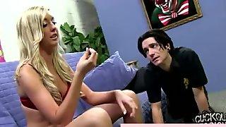 Sexy cuckold loving blonde dominates guy